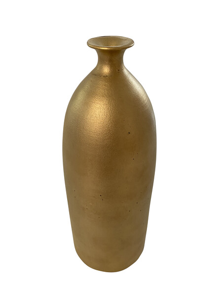 Contemporary American Ceramicist Sandi Fellman 22K Gold Bottle Shaped Vase