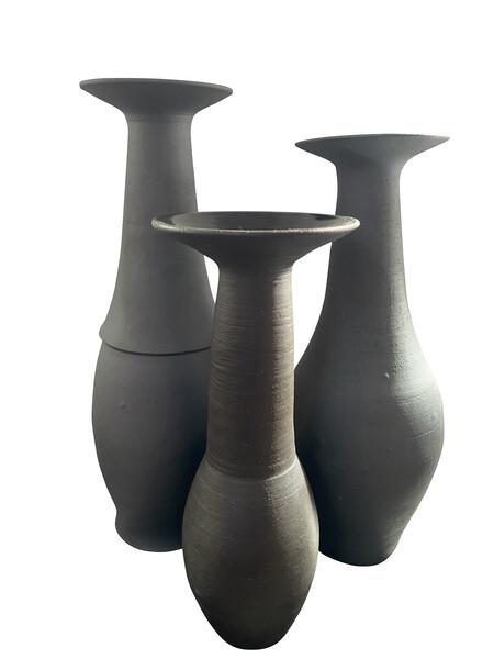 Contemporary American Ceramicist Sandi Fellman Black Stoneware Vase