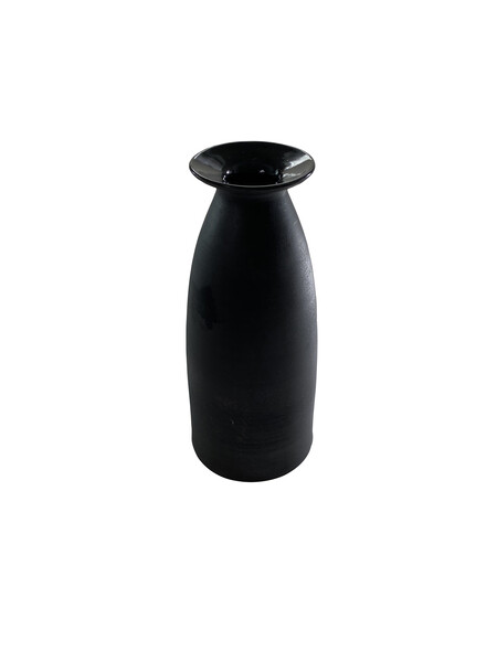Contemporary American Ceramicist Sandi Fellman Matte Black Stoneware with Black Gloss Lip Vase