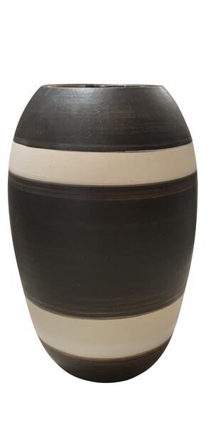 Contemporary American  Striped Stoneware Vase