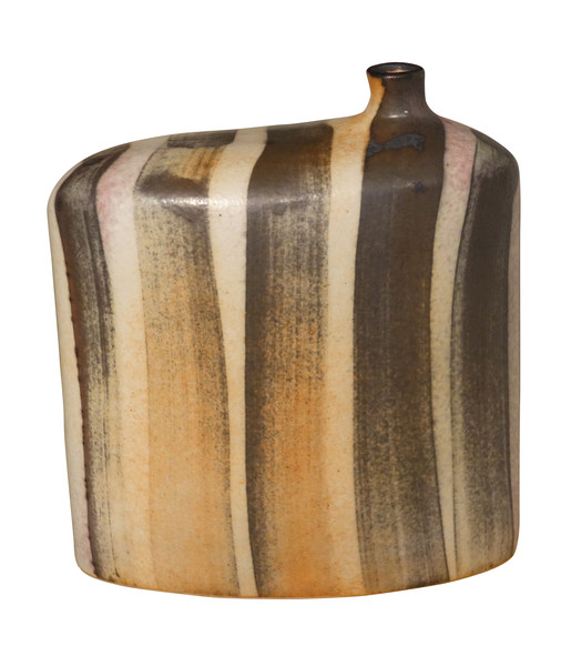 Contemporary Chinese Striped Pattern Glazed Vase