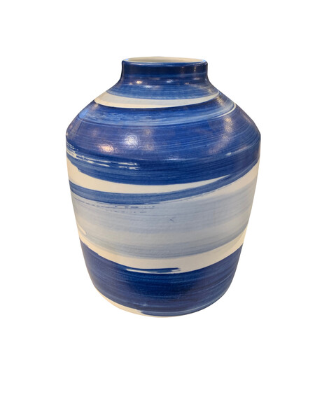 Contemporary Chinese Blue Brush Stroke Vase