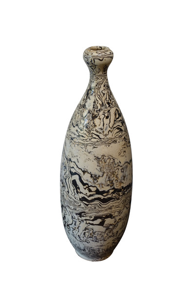 Contemporary Chinese Brown / Cream Swirl Vase