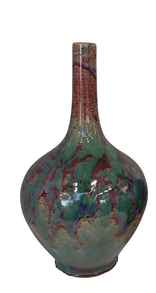 Contemporary Chinese Burgundy / Turquoise Glazed Vase