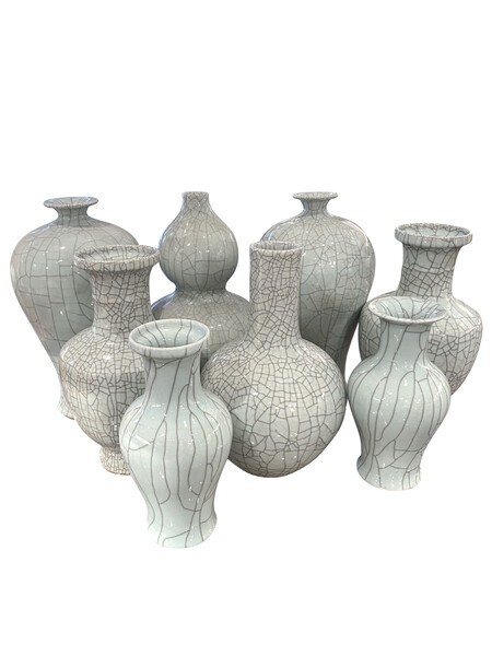 Contemporary Chinese Collection Pale Blue Crackle Glaze Vases