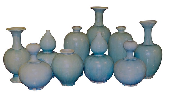 Contemporary Chinese Collection Washed Turquoise Vases