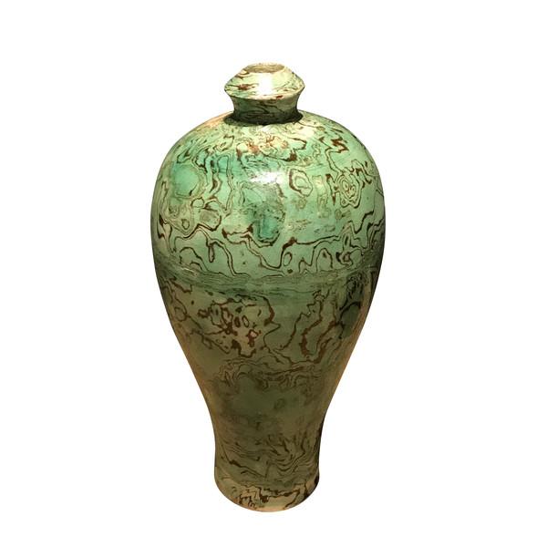Contemporary Chinese Green / Black Swirl Glaze Vase