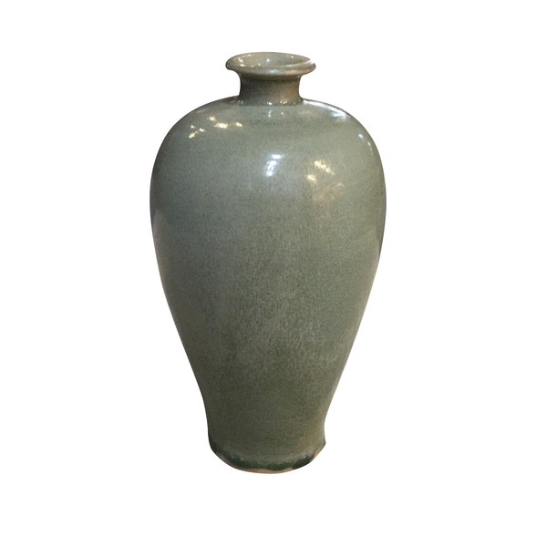 Contemporary Chinese Olive Green Vases