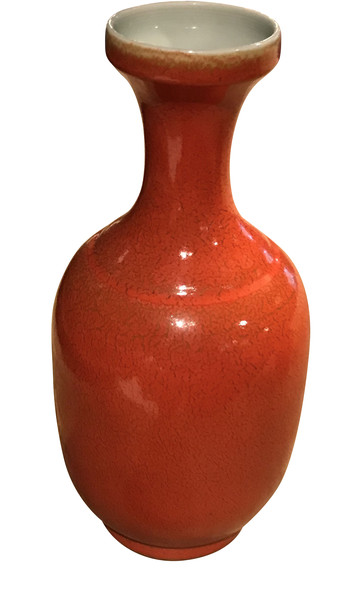 Contemporary Chinese Orange Porcelain Vase