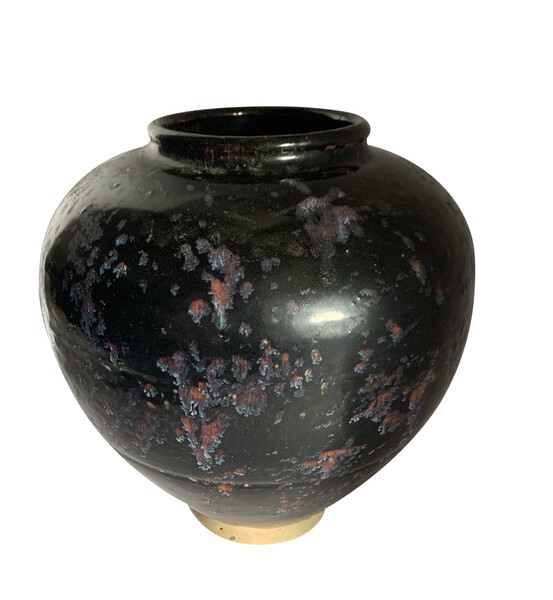Contemporary Chinese Textured  Black   Vase