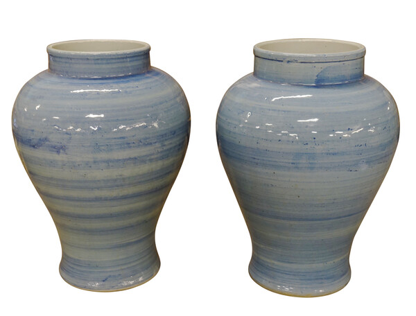 Contemporary Chinese Pair Blue Horizontal Striated Vases