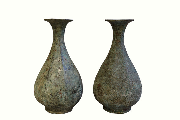 Contemporary Chinese Pair Bronze Vases