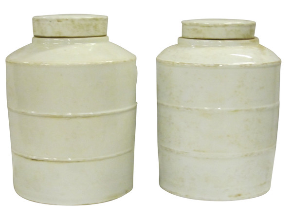 Contemporary Chinese Pair  Ceramic Apothecary Jars with Lids