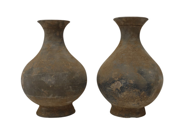 Contemporary Chinese Pair Dusted Terra Cotta Vases