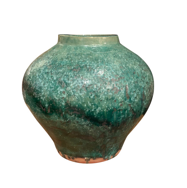 Contemporary Chinese  Emerald and Deep Turquoise Vase