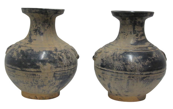 Contemporary Chinese Pair Faded Black Vases