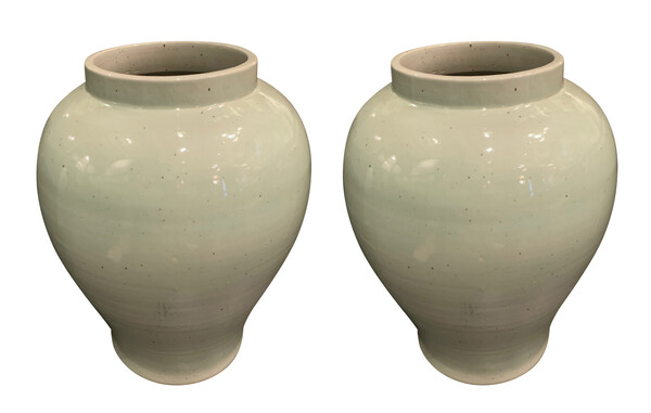 Contemporary Chinese Pair Large Pale Turquoise Vases