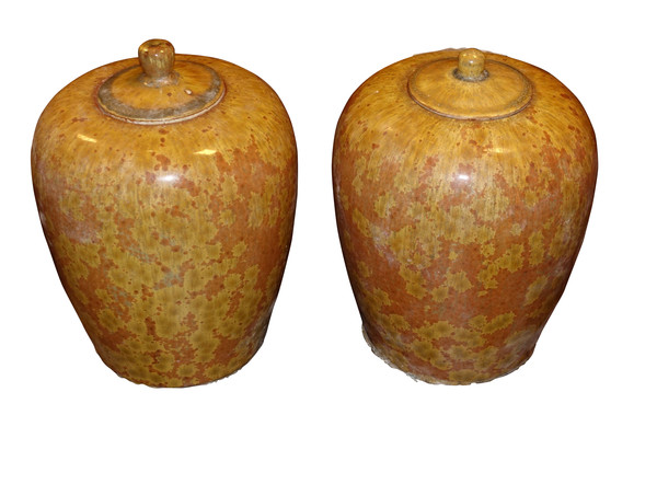 Contemporary Chinese Pair Lidded Ginger Jars