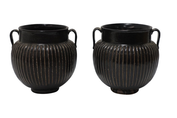 Contemporary Chinese Pair Ribbed Black Vases