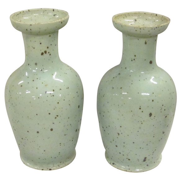 Contemporary Chinese Pair Robins Egg Blue Vases