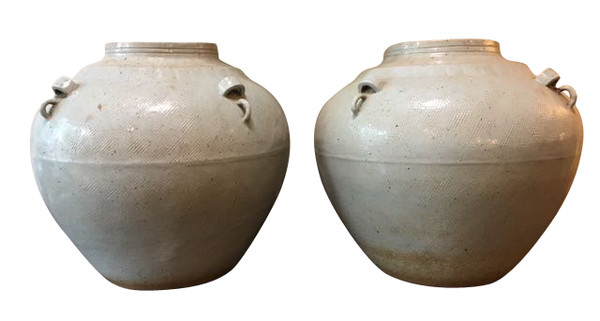 Contemporary Chinese Pair Textured Vases