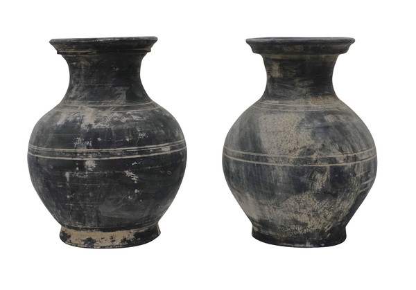 Contemporary Chinese Pair Weathered Black Vases