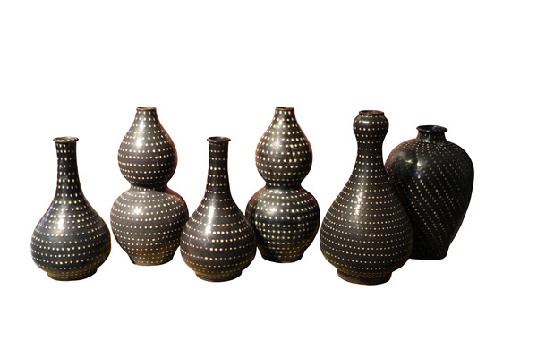 Contemporary Chinese Pin Dotted Vases
