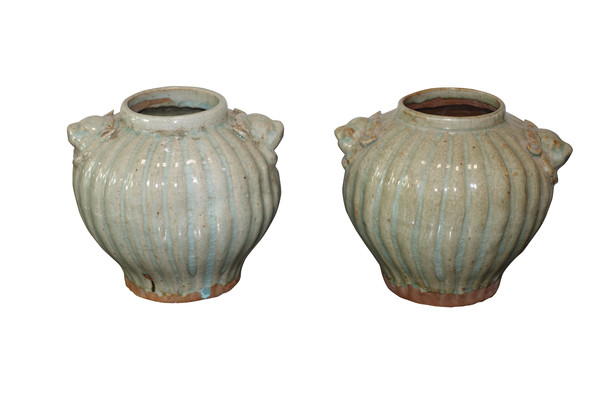 Contemporary Chinese Ribbed Vase