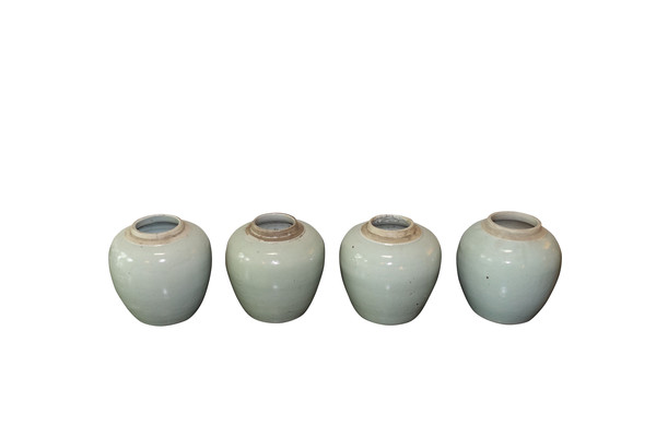Contemporary Chinese Small Pale Turquoise Pots