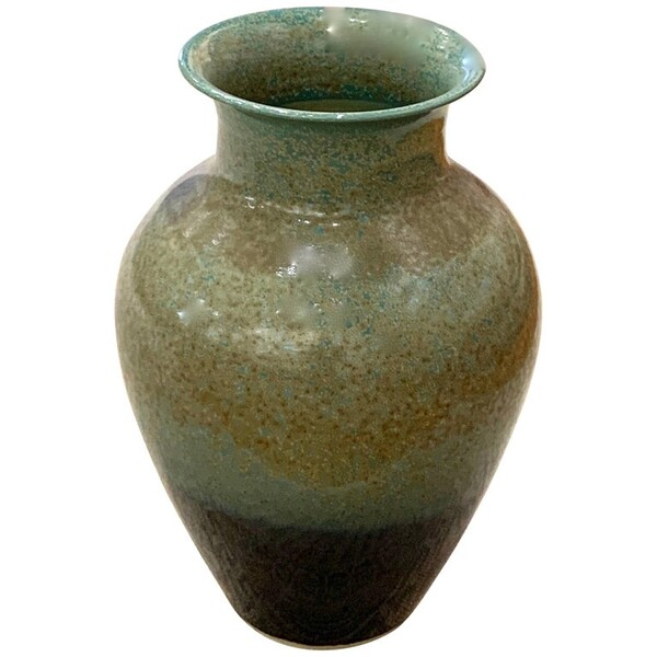 Contemporary Chinese Speckled Turquoise Vase