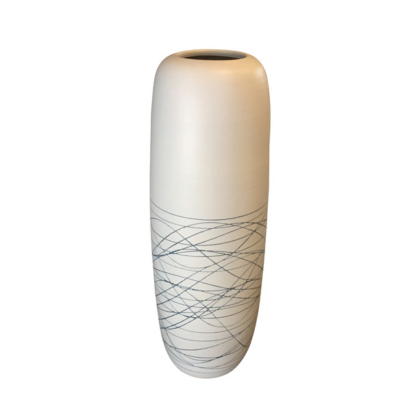 Contemporary Chinese Tall Thin Lined Design Vase