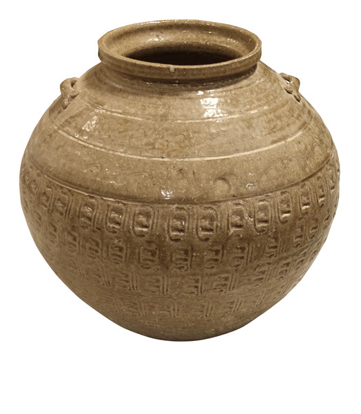 Contemporary Chinese Textured Light Olive Pot