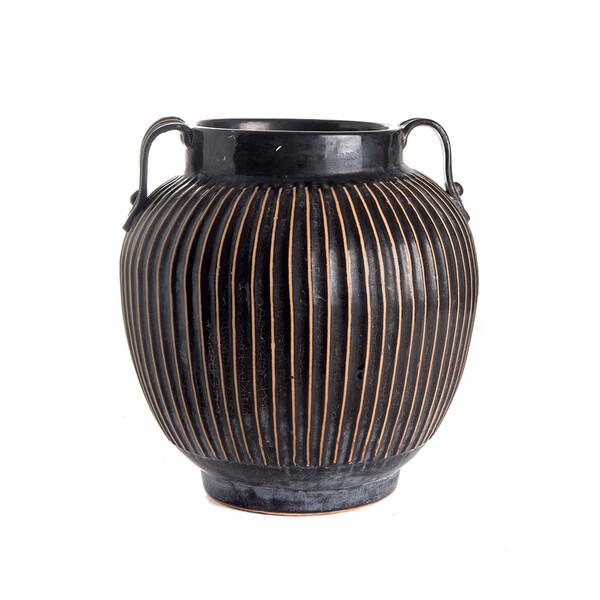 Contemporary Chinese Two Handled Ceramic Cache Pot