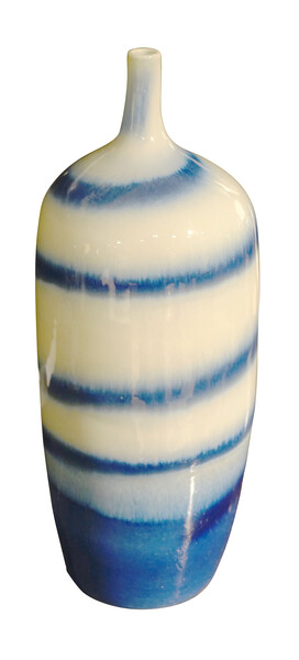 Contemporary Chinese Vase Horizontal Blue Stripes