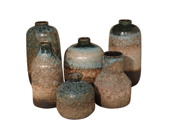 Contemporary Chinese Volcano Textured Vases