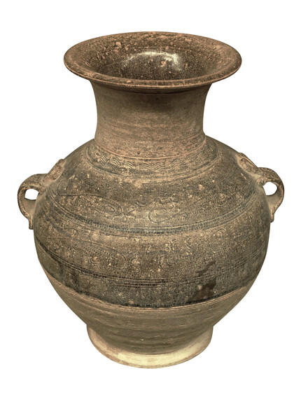 Contemporary Chinese Weathered Brown Handled Vases