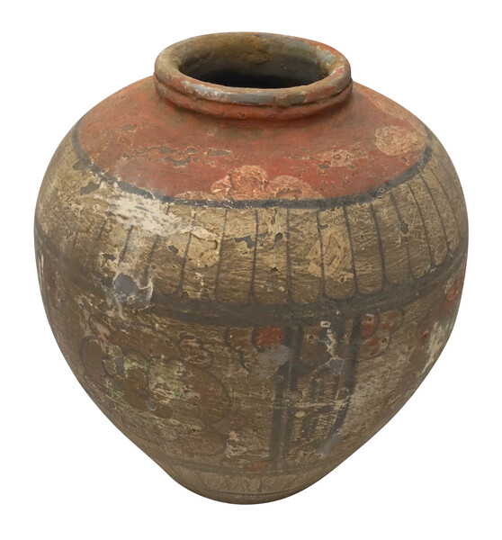 Contemporary Chinese Weathered Decorative Painted Vase