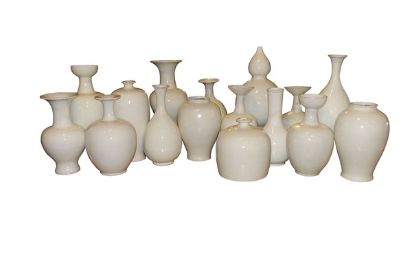 Contemporary Chinese Collection of Cream Vases