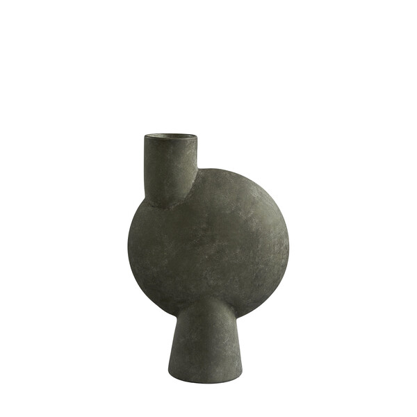 Contemporary Danish  Tall Matte Grey Off Center Single Spout Vase
