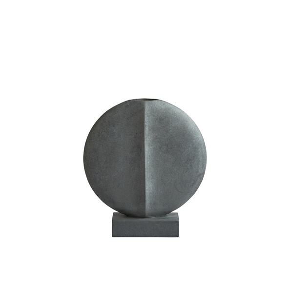 Contemporary Danish  Matte Grey Large Thin Round Vase on Base
