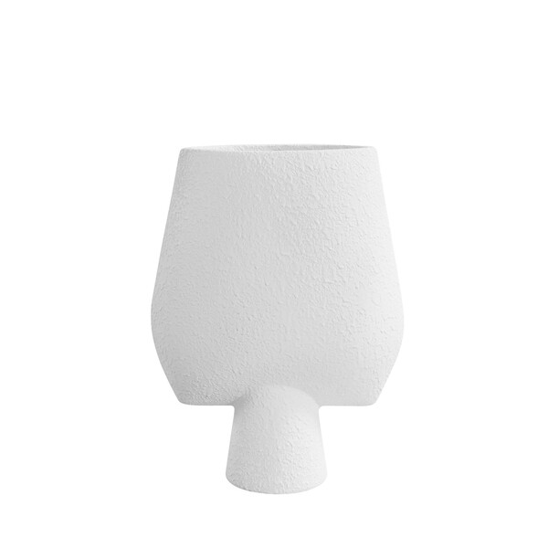 Contemporary Danish Tall Textured White  Arrow Shaped Vase