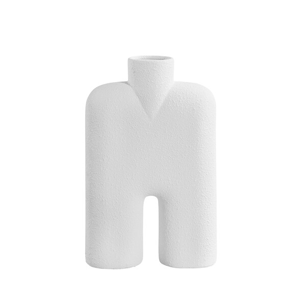 Contemporary Danish Textured Tall White Single Spout Vase