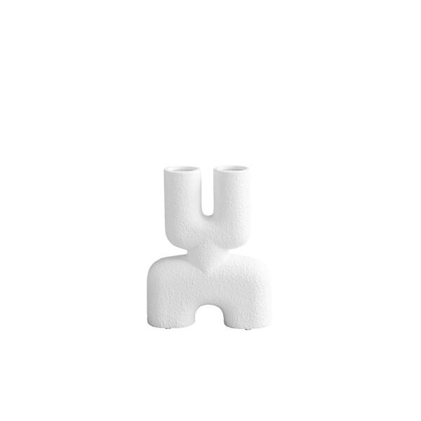 Contemporary Danish Textured White Twin Spout Vase