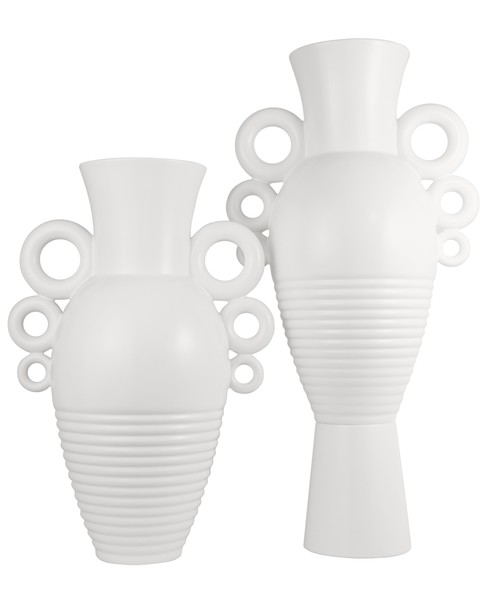 Contemporary French White Circled Handles Vase