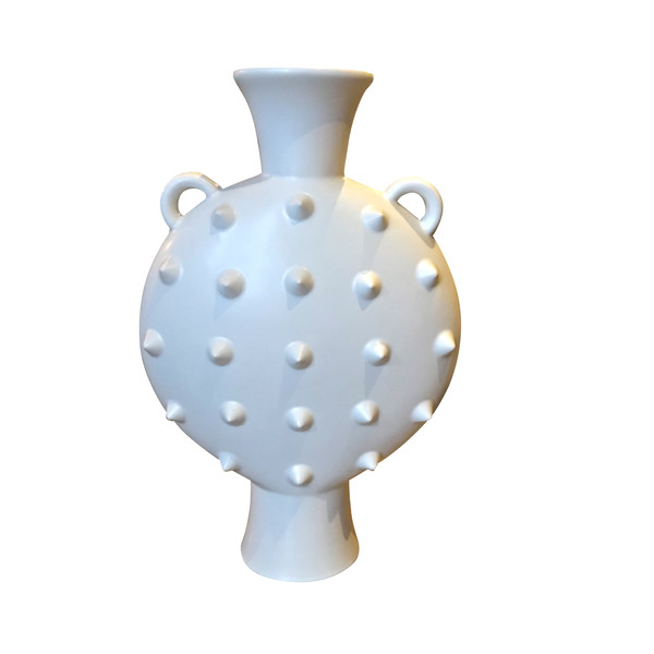 Contemporary French White Vase Decorative Cones