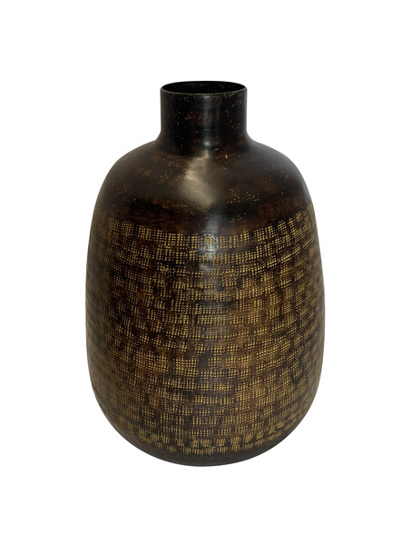Contemporary Indian Brown Patterned Metal Vase