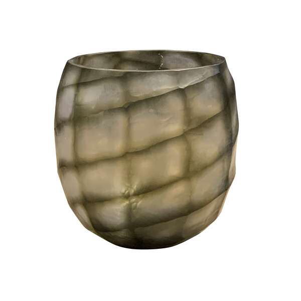 Contemporary Indonesian Cube Pattern Glass Vase