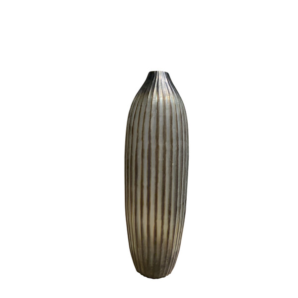 Contemporary Indonesian Ribbed Glass Vase