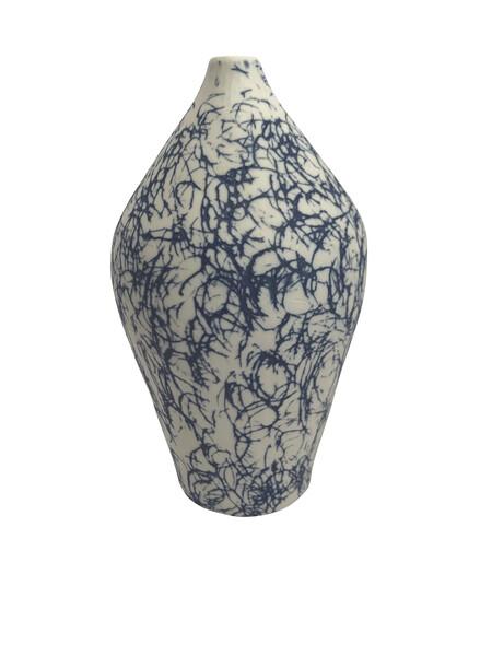 Contemporary Italian Blue Graffiti Vase