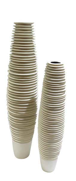 Contemporary Italian Set of Two Ribbed Vases